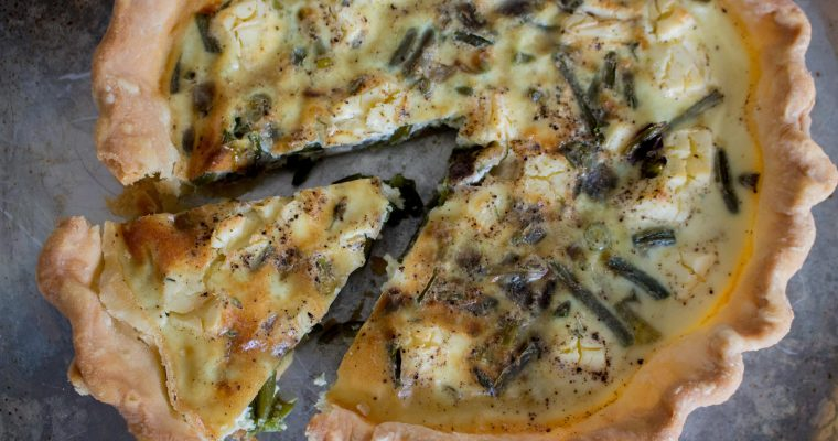 Garlic Scape & Cream Cheese Quiche