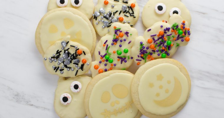 White Chocolate Glazed Halloween Sugar Cookies – Easy No Piping Necessary